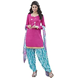 Anjali Presents Lovely Pink and Blue Printed Dress Material with Dupatta