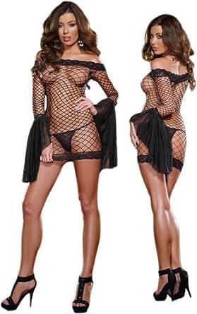 Exotic Fishnet Long Sleeve Off Shoulder Black Dress - One Size