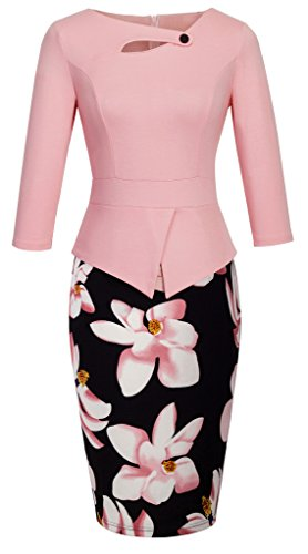HOMEYEE Women's Elegant Chic Bodycon Formal Dress B288 (5XL, A-Light Pink)