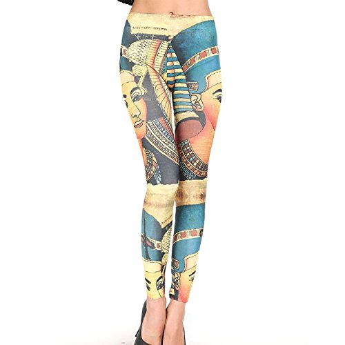 L04BABY Women's Sexy Slim Egypt Charming Girl Print Leggings