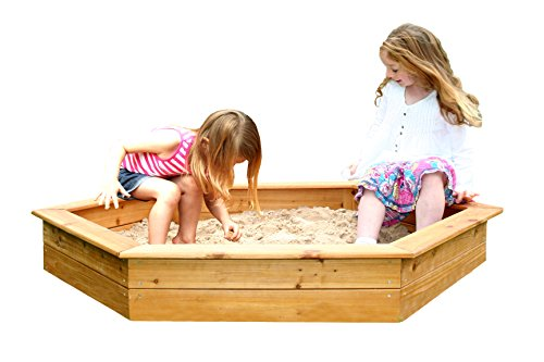 Buy Online Garden Games 1.5m Hexagonal Wooden Sand Pit with Cover and Underlay