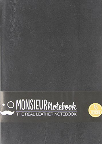 Monsieur Notebook Black Leather Dot Grid Medium