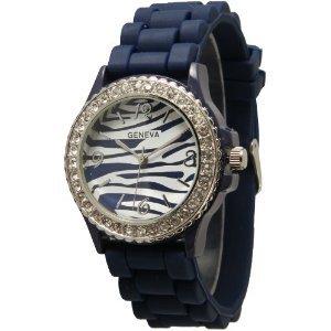 Navy Blue Zebra Silicone Watch W/ Cz Crystal Rhinestones Ceramic Look