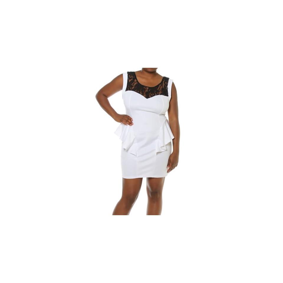 cad084069a7 Plus Size Women Floral Lace Shoulder Cap Sleeve Sexy Peplum Dress White 1X