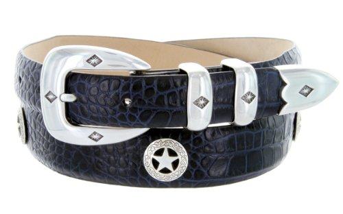 Presidential Silver Star Western Golf Concho Italian Calfskin Leather Dress Belt (38 Alligator Navy)