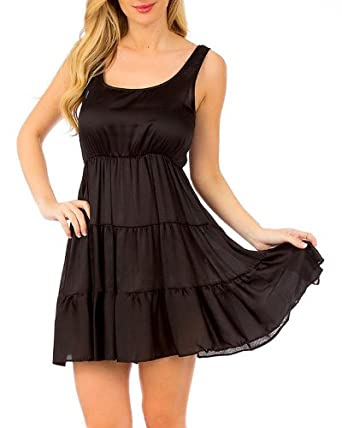 G2 Chic Women's Ruched Panel Peasant Dress(DRS-CAS,BLK-S)