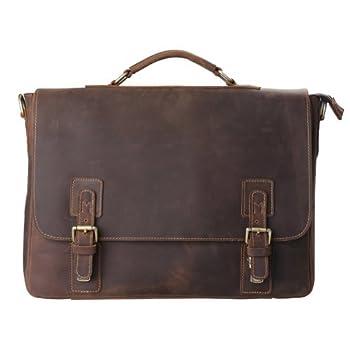 "Kattee Mens Briefcase, Full Grain Leather Messenger Shoulder Bag 16"" Laptop Tote"