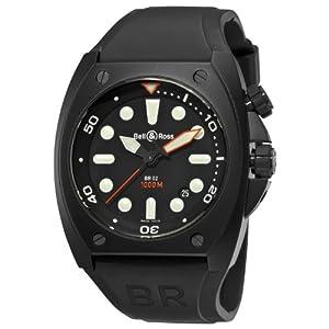 Bell and Ross BR-02-92-CARBON PRO - Orologio da polso, uomo, caucciú, colore: nero