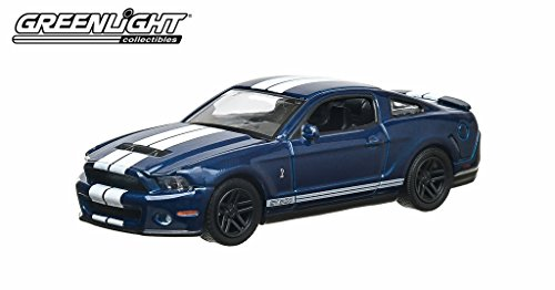 GreenLight GL Muscle 10th Anniversary 2010 Ford Shelby GT500 Kona Diecast Vehicle, Blue w/ White Stripes, Scale 1:64