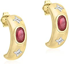 Carissima Gold 9 ct Yellow Gold 0.04 ct Diamond and Ruby Diamond Matt Stud Earrings