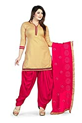 Bhagwati Women's Cambric Cotton Unstitched Dress Material (Sultan1002_Beige_Freesize)