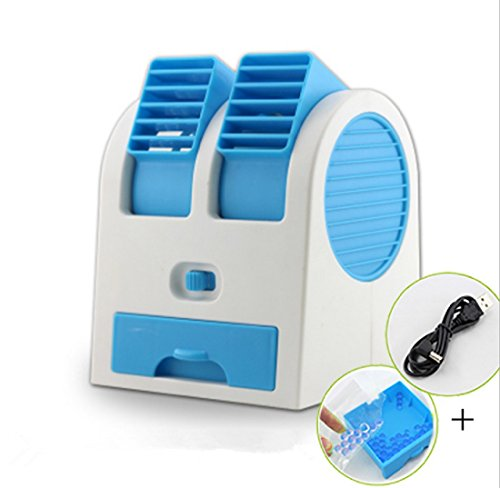 Mini Fan & Portable Dual Bladeless Small Air Conditioner Water Air Cooler Powered by USB & Battery