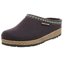 Haflinger Unisex Classic Grizzly Slip-On,Eggplant,38 EU (US Women\'s 7 M)