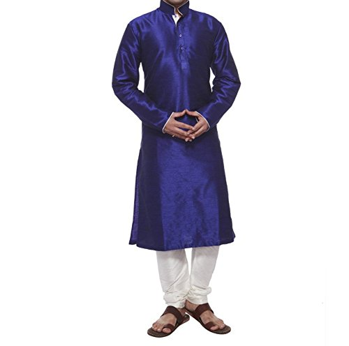 Royal Men's Designer Silk blend Kurta &Churidhar _Blue