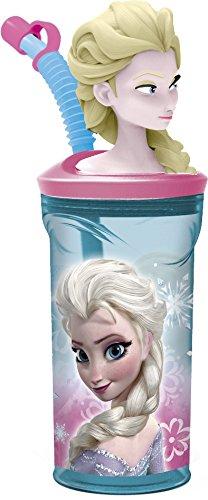 Disney 55766/DFR de 9035-Frozen 3d-Vaso con pajita, multicolor