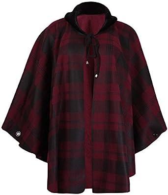 PurpleHanger Women's Plus Size Check Print Poncho Cape Coat