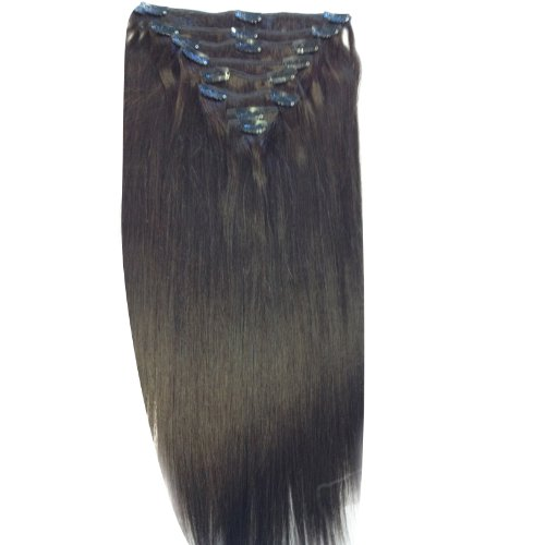 22 inch Dark Brown (2). Full Head. Clip in Human Hair Extensions. High quality Remy Hair!. 120g Weight