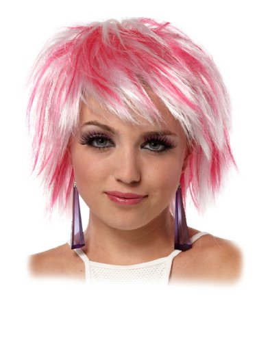 Short Pink Punk Wig Layered Cut Sexy Pixie Cut Layers Womens Theatrical Costume
