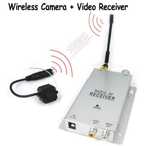 SecurityIng - 1/4 Inch CMOS 380 TV Lines Micro Wireless Pinhole Color Camera + Wireless Video Receiver Sets, Covert Security Surveillance for Your House / Home / Office, Also Can Be Used As A Baby Monitor