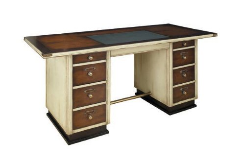 Captain's Nautical Wood Desk, Ivory - Nautical Solid Wood Furniture, Wood Desks and Office Furniture - 67 x 29.5 x 30.75 in