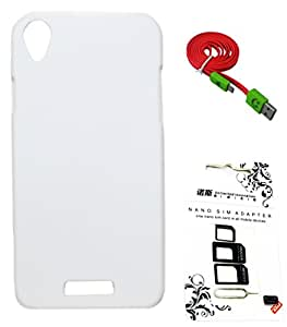 FCS Rubberised Hard Back Case For Lava Iris X1 Mini With Sim Adaptor And Wide Strip 1 Meter Data Cable