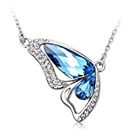Shining Diva Platinum Plated Crystal Butterfly Necklace for Women