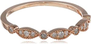 14k Rose Gold Plated Sterling Silver Diamond Band Ring (1/7 cttw, I-J Color, I2-I3 Clarity), Size 6