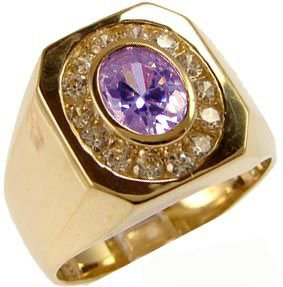 Yellow Gold Plated, Fancy Ring For Men Guy Gent With Lab Created Gems Violet Purple Center 7Mm 1.75Ct