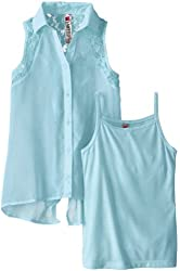 Beautees Big Girls' Sleeveless Button Up with Lace Inset and Layering Tank