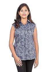 Juee Women's Printed Casual Top (JU102SY1SLNBL) (Medium)