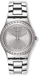 Swatch Irony Pure Powder Silver Dial Stainless Steel Ladies Watch YLS172G
