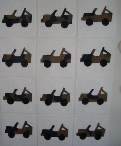 12 Applique Camouflage Jeep Quilt Blocks 6.5 Inch Squares