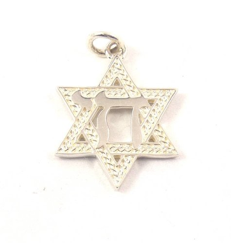 Star of David Charm W/Chai 20MM in Sterling Silver KDAC