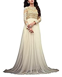 Miss Ethnic Women's Net Unstitched Dress Material (White)