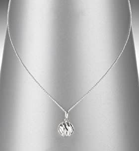 Sterling Silver Swirl Ball Pendant Necklace