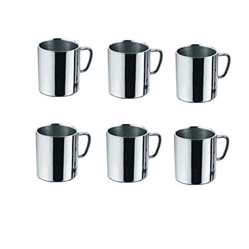 King International-Double Paroi en Acier Inoxydable lourds Cappuccino Tasse à café de PC-225ml (Lot de 6)