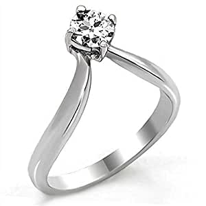 Yourjewellerybox Tk0W260Pb Wishbone Solitaire Ring Pave Set Simulated Diamonds Stainless Steel Size L