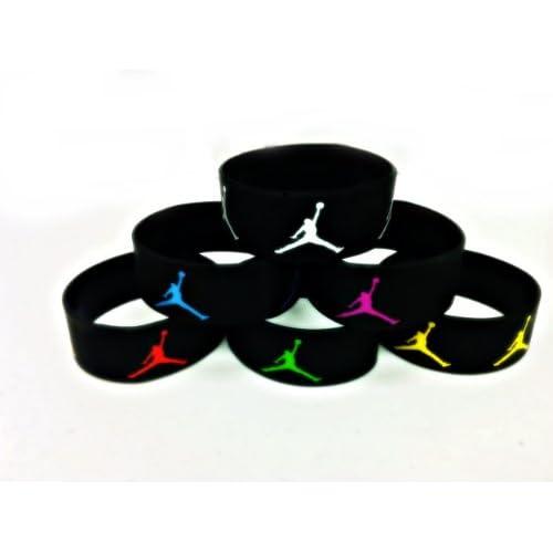 Amazon.com : Set of 6 Michael Jordan Wristbands Black Sport Silicone