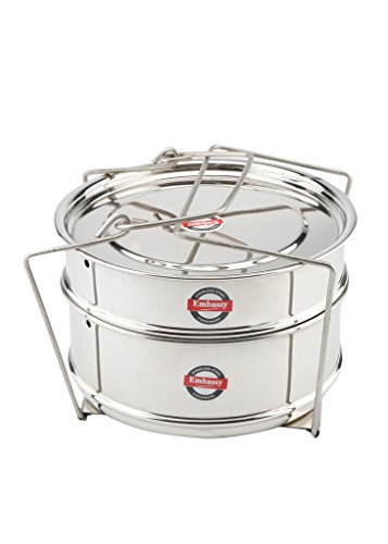 Embassy Cooker Separator Set Suitable for 5 Litres Hawkins Inner-Lid Pressure Cooker (2 Containers, Stainless Steel)  available at amazon for Rs.525