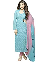 Whatshop New Designer Sky Blue & Pink Shiffon Dress Material