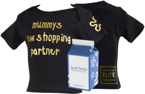 Spoilt Rotten ELITE Collection - Mummy's New Shopping Partner Baby & Toddler Lap Slogan T-Shirt 100% Organic Sizes 4-5 years BLACK in funky Milk Carton