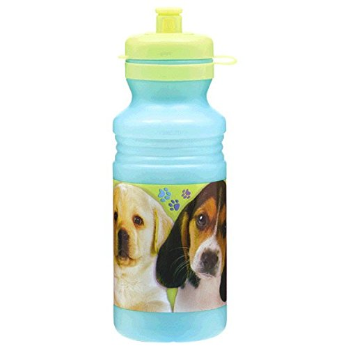 Cute Party Pups Drink Bottle Birthday Party Favors, 18 oz, Blue/Green
