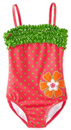 Hartstrings Little Girls'  One Piece Polka Dot Bathing Suit, Pink Dot, 2T