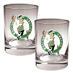 Boston Celtics 2pc Rocks Glass Set - Primary Logo NBA Basketball