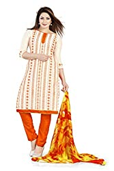 Bhagwati Women's Chanderi Unstitched Dress Material (Sultan1006_White_Freesize)