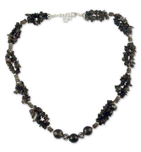 Smoky quartz beaded necklace, 'Evening Romance'