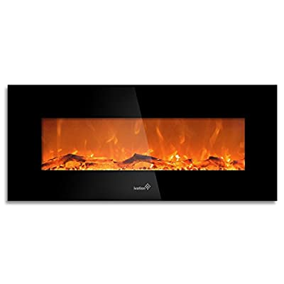 "Ivation 50"" Wall Mounted Glass Electric Fireplace w/ Built In 1500-Watt Heater - Realistic LED Flames - Mounting Hardware & Remote Control Included - Great for Living Room, Family Room, Bedroom & More"