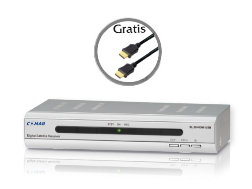 COMAG SL30 HDMI USB Satelliten Receiver PVR Ready inkl. gratis HIGH-SPEED-HDMI-Kabel (USB 2.0 für externe Festplatte oder USB-Stick, Scart, HDMI)