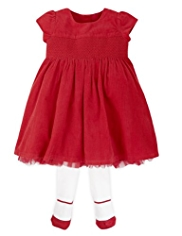 2 Piece Autograph Cotton Rich Corduroy Dress & Tights Outfit