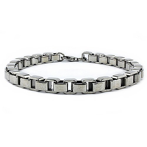 Stainless Steel Heavy Box Chain Bracelet (6mm Wide) 8.5 Inches